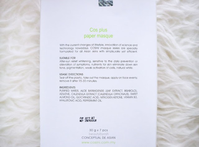 Cosini Cos Plus Paper Masque Review