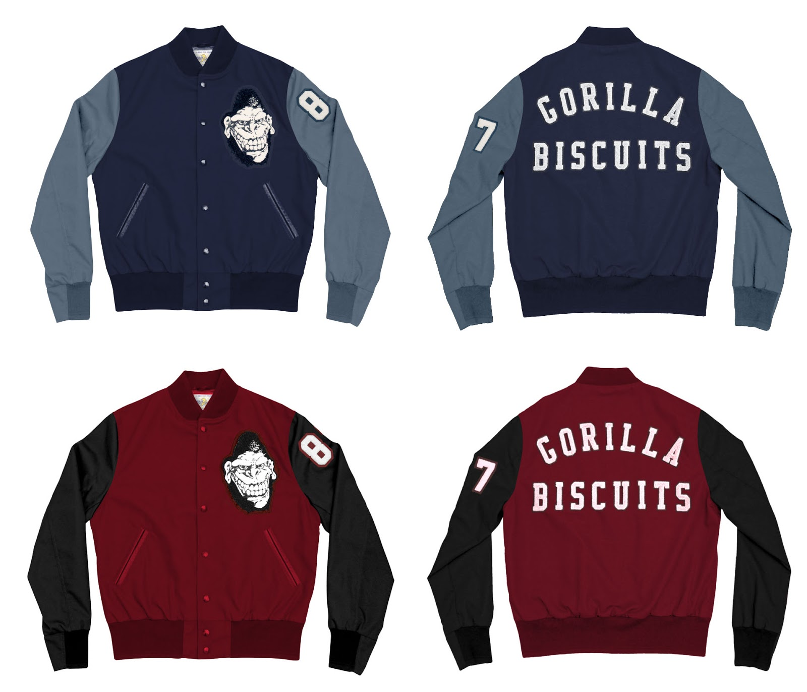 92f76c263728 Pre-Order Super7 s Gorilla Biscuits Varsity Jacket HERE for  295. They are  available in 2 colors - Navy w Grey or Red w Black. These will be custom  made ...