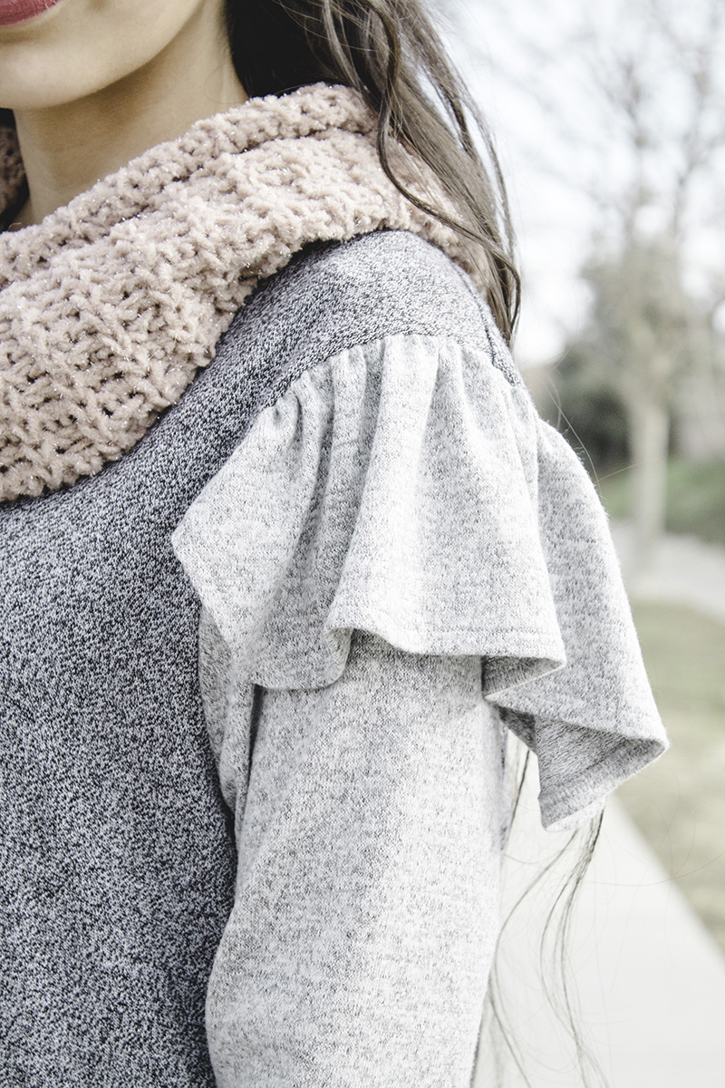 angled close up of ruffle refashioned sweater