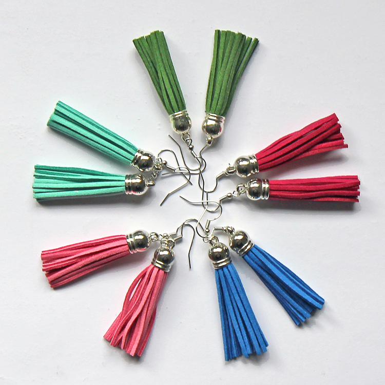 Create these colorful suede tassel earrings in less than five minutes!