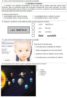 SIMULADO DE PREPARAÇÃO PARA O PROALFA TESTE 3