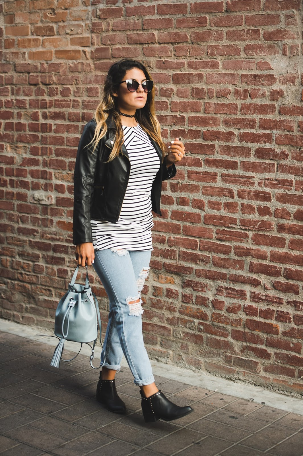 Striped Top and Ripped Denim -- @taylorwinkelmeyer