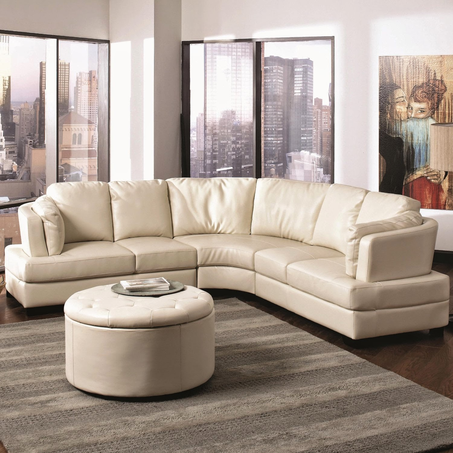 curved sofa curved leather sofa - landen contemporary curved leather sectional