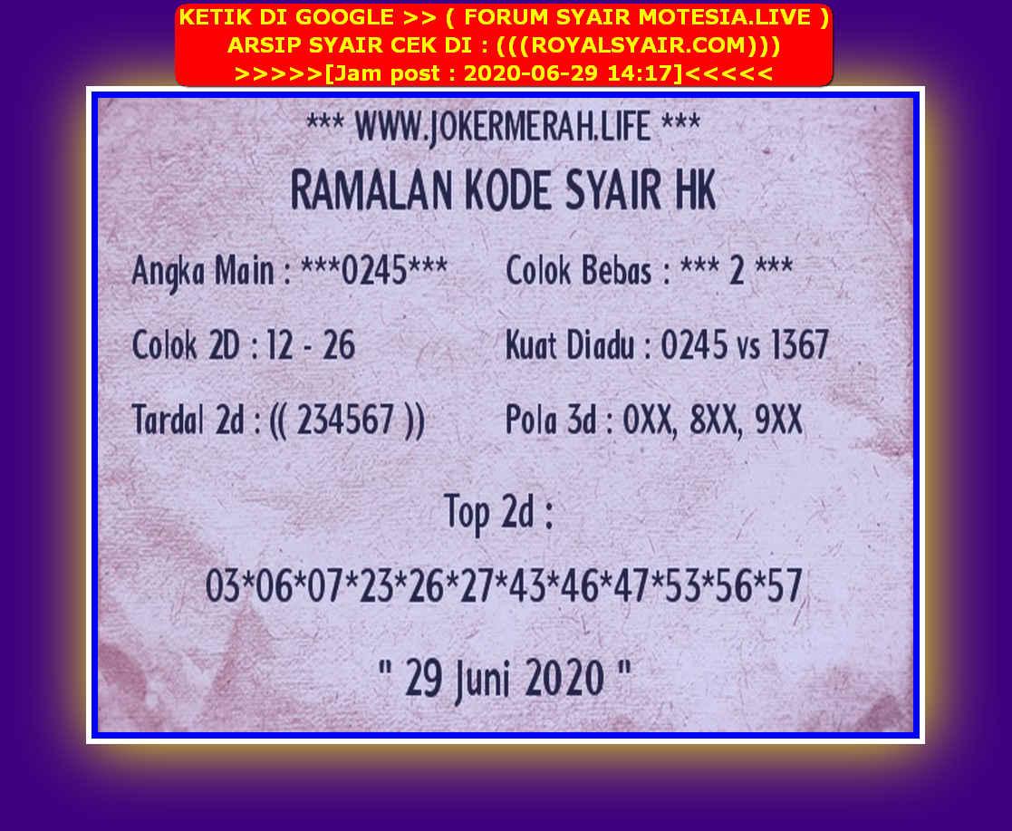 Kode syair Hongkong Senin 29 Juni 2020 187