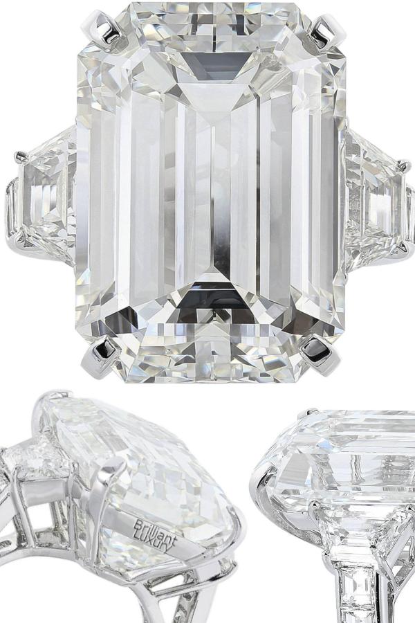Brilliant Luxury♦22.02 Carat Emerald Cut Diamond Platinum Three Stone Engagement Ring