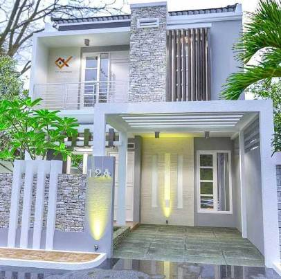 Bentuk Depan Rumah Minimalis 2 Lantai Desain Modern
