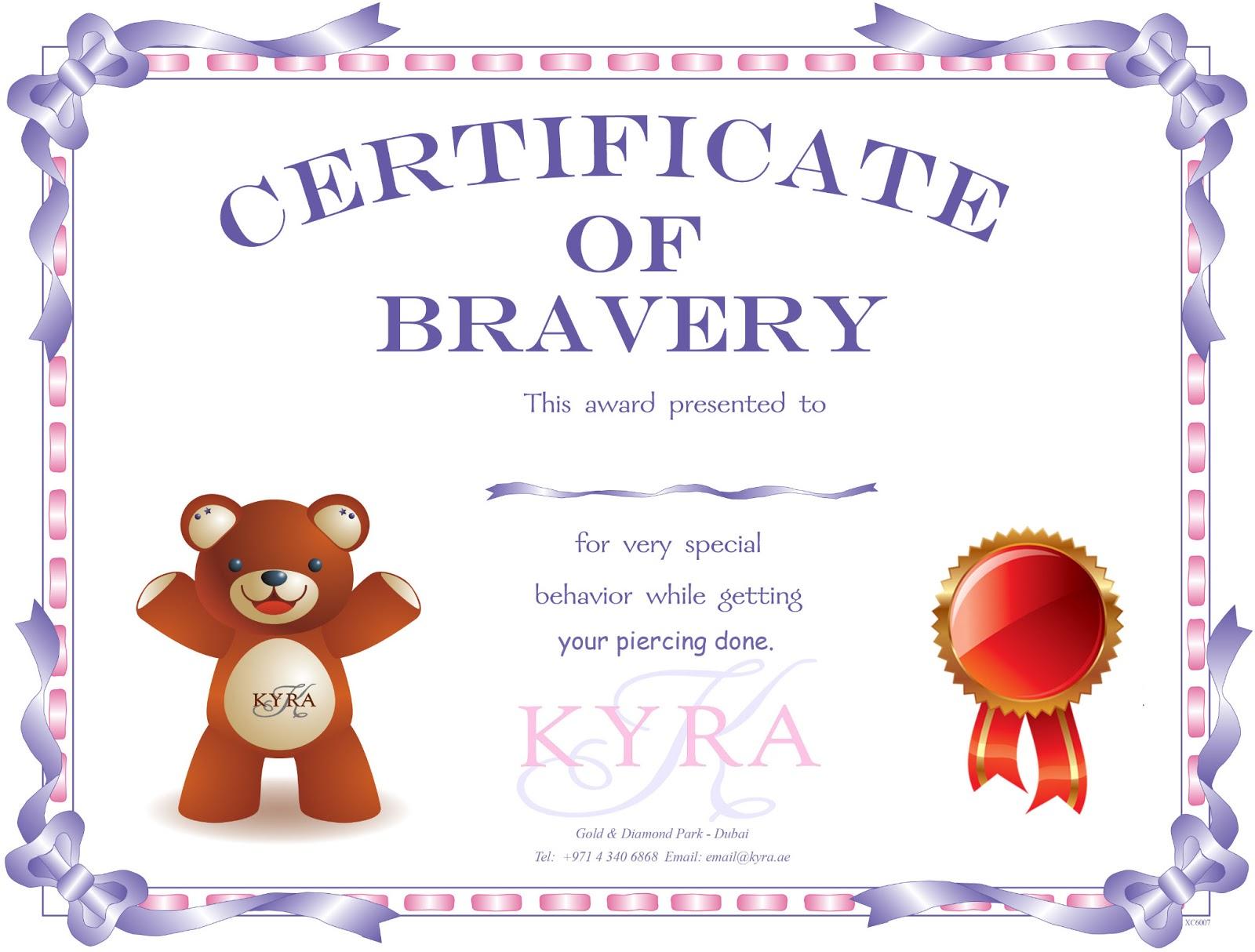 bravery certificate template - certificate of