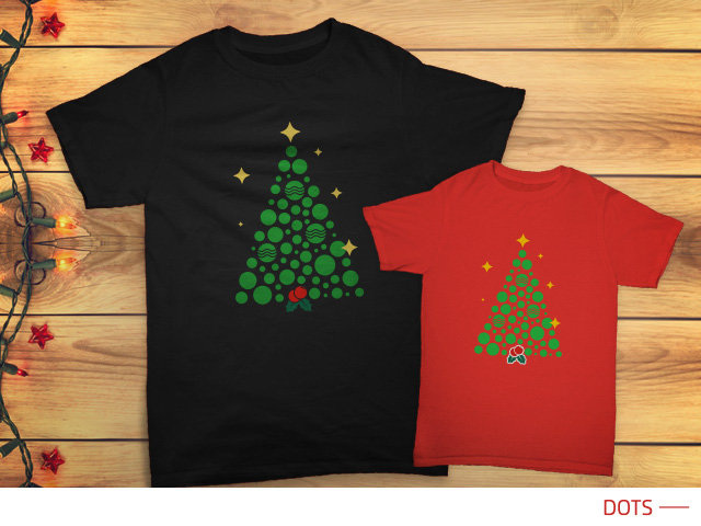 Set kaos Natal untuk keluarga 'Dots'.