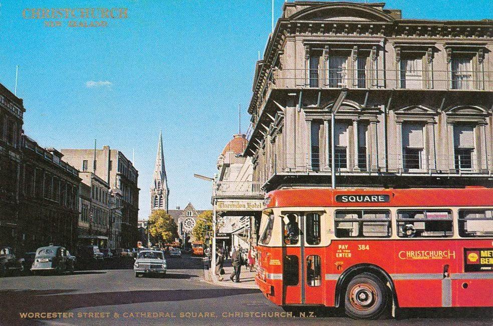 クライストチャーチ Pinterest: Transpress Nz: Traffic In Worcester Street, Christchurch, 1960s