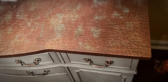 aerial view of the buffet top to see the copper and patina accents