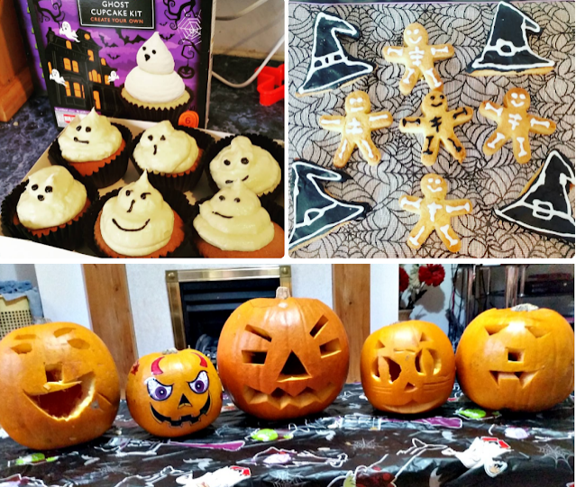 A collage of photos including ghost cupcakes, skeleton gingerbread men and 5 carved pumpkins