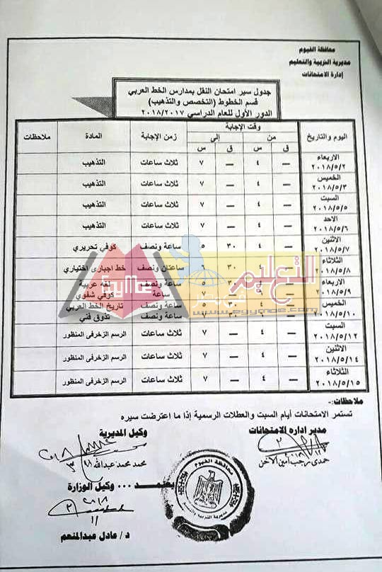 جداول إمتحانات آخر العام الترم الثانى محافظة الفيوم