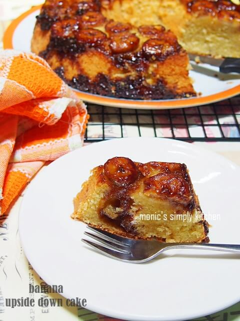 resep simple banana upside down cake