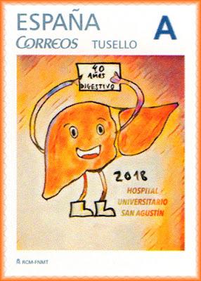 Sello personalizado del 40 aniversario del área de digestivo del hospital San Agustín de Avilés
