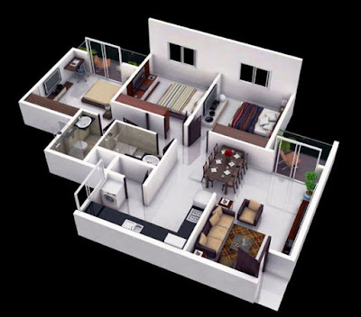 Tampilan 3D Desain Rumah Minimalis Dengan 3 Kamar Tidur Sederhana 4