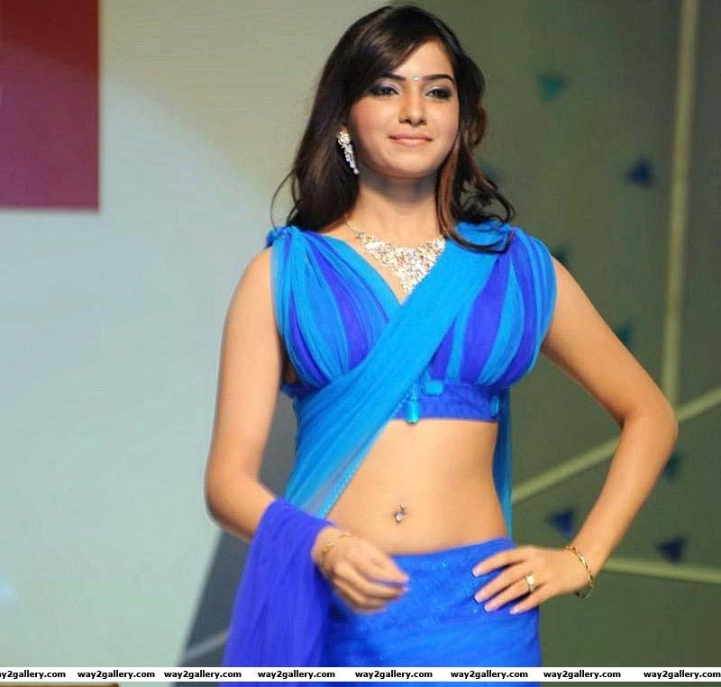 samantha in blue saree photos