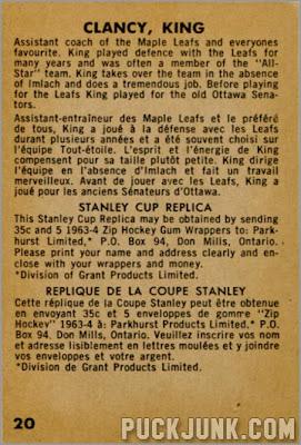 1963-64 Parkhurst #30 - King Clancy