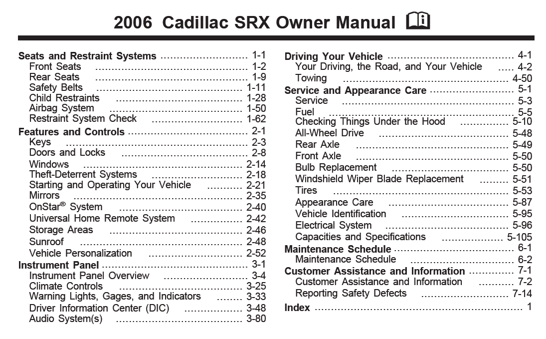 2006 cadillac srx owners manual printer and service manual rh printer1 blogspot com 2006 cadillac srx manual pdf 2006 cadillac srx owners manual download