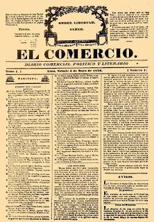 Portada del primer ejemplar del diario El Comercio