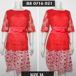Model Dress Batik Kombinasi Brokat pendek