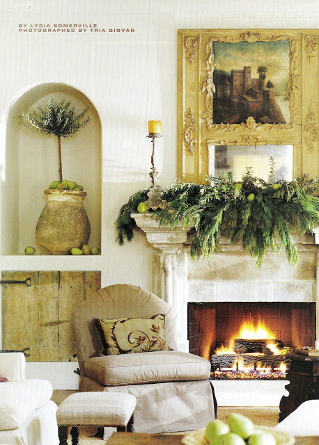 Pamela Pierce designed interior with neutral palette, antiques, romantic slipcovers, and spare decor. #frenchcountry #interiordesign