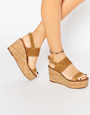 Steve Madden Caitlyn tan suede cork wedge sandals, $127.07 from ASOS