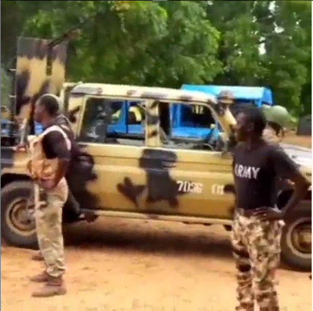 Nigerian Soldiers Display Their Missile Truck On The War Field