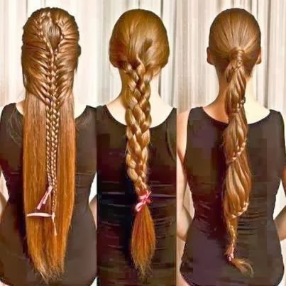 Three different long hair styles for ladies