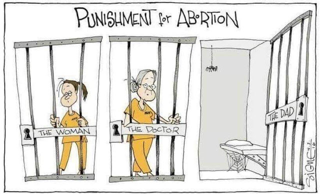 Title:  Punishment for Abortion.   Image:  Three jails.  Two of them, labeled