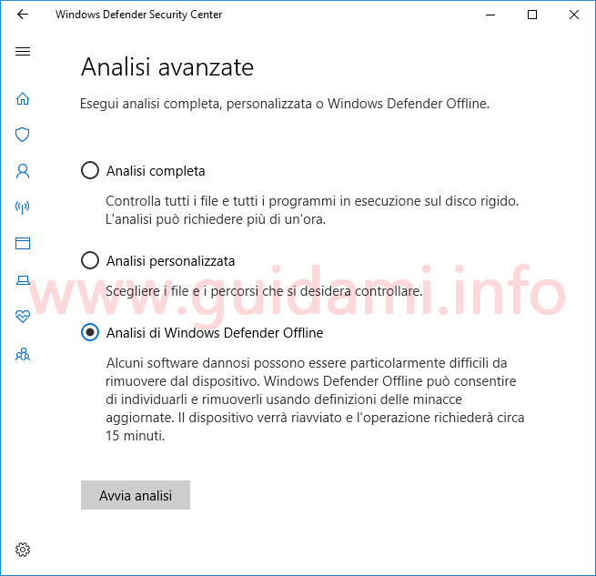 Windows Defender Security Center opzione Analsi di Windows Defender Offline