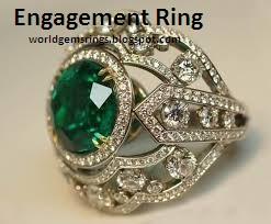 Engagement Ring Tunisia Emerald Diamond White Gold Engagement Ring 192