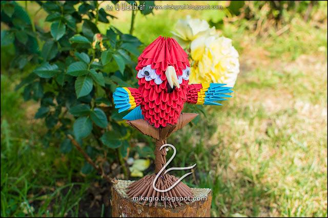 453. Papuga z origami / 3d origami parrot