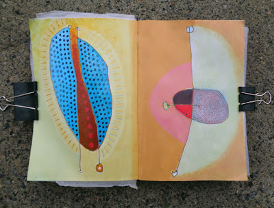Sketchbook of blind drawings, then painted in with acrylics.