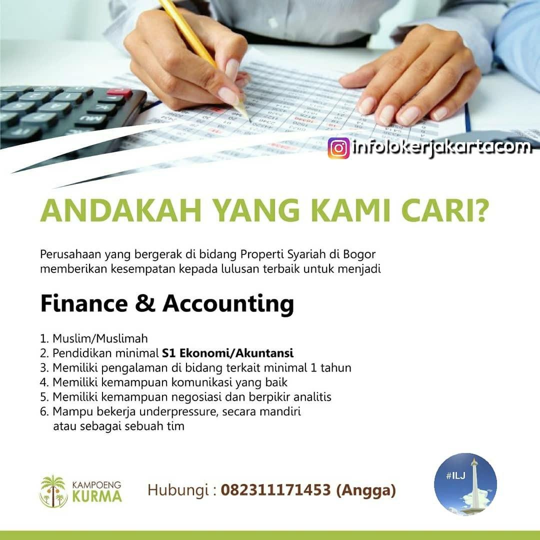Lowongan Kerja Finance & Accounting Kampoeng Kurma Bogor Februari 2019