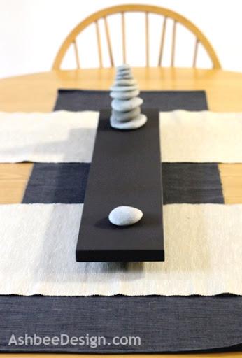 table centerpiece with beach rocks