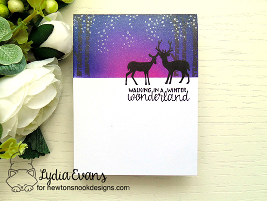 Winter card with deer silhouettes by Lydia Evans | Serene Silhouettes stamp set by Newton's Nook Designs #newtonsnook