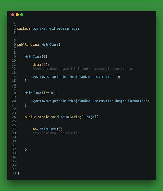 Contoh Code Penggunaan Keyword this bahasa program java