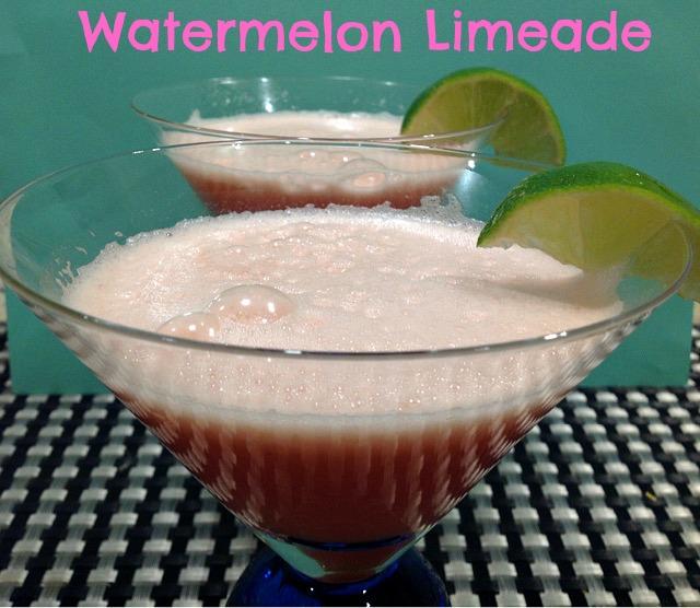 watermelon limeade in martini glasses