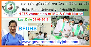 Recruitment of Medical Officer & Staff Nurse in BFUHS