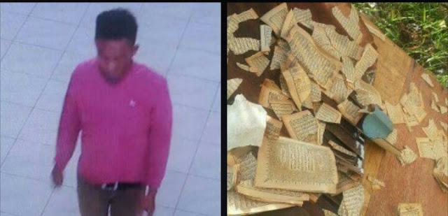 Tersanfka pencuri di masjid yang terekam CCTV merobek Al Quran.