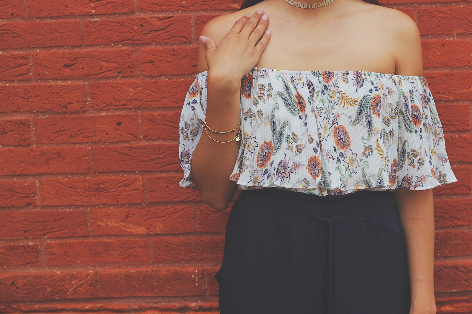 This Accordion Off The Shoulder Top Caught My Eye Because Floral Prints Arent Like Typical Found On Other Tops And Dresses