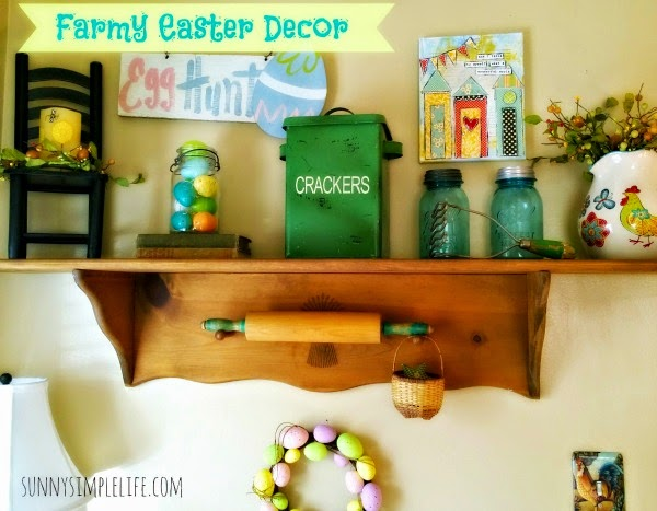 farmhouse Easter decor, rustic decor, ball jars, mixed media