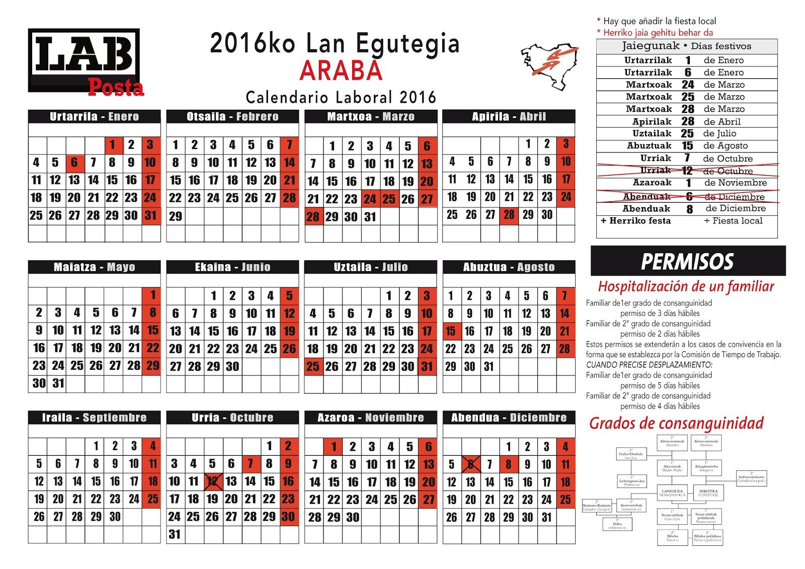 Calendario Laboral Alava 2020.Lab Posta 2016ko Lan Egutegia Araba Calendario Laboral 2016 Alava