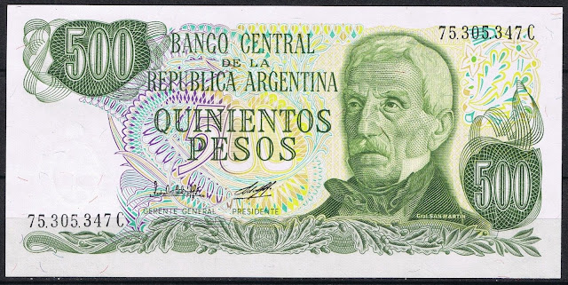 Argentina Banknotes 500 Pesos banknote 1980 General Jose de San Martin