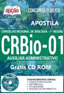 Apostila CRBio-1 SP, MT e MS - Auxiliar Administrativo - GRÁTIS CD ROM