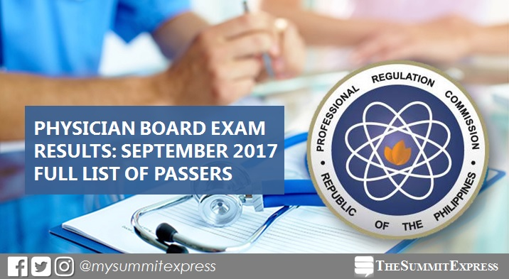 September 2017 Physician board exam passers list, top 10