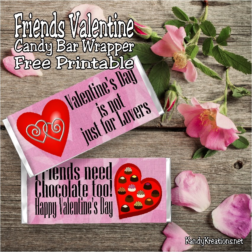 Valentine's Day is not just for lovers!  Friends need chocolate too.  So give them a fun Valentine with this Friends Valentine candy bar wrapper free printable.  Wrap it around a 1.5 ounce candy bar for a yummy and unique Valentine card for all your friends.