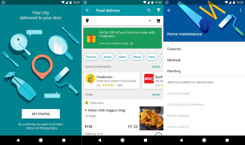 Google Launched Areo Food Delivery & Home Services App In India