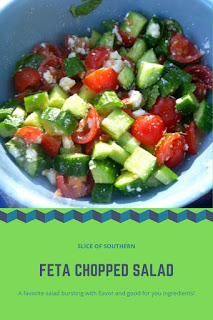 Feta Chopped Salad:  A wonderful Mediterranean inspired salad bursting with fresh cucumbers and tomatoes and a soft mild feta cheese and dressed lightly with lemon and olive oil.  Delish!!!  - Slice of Southern
