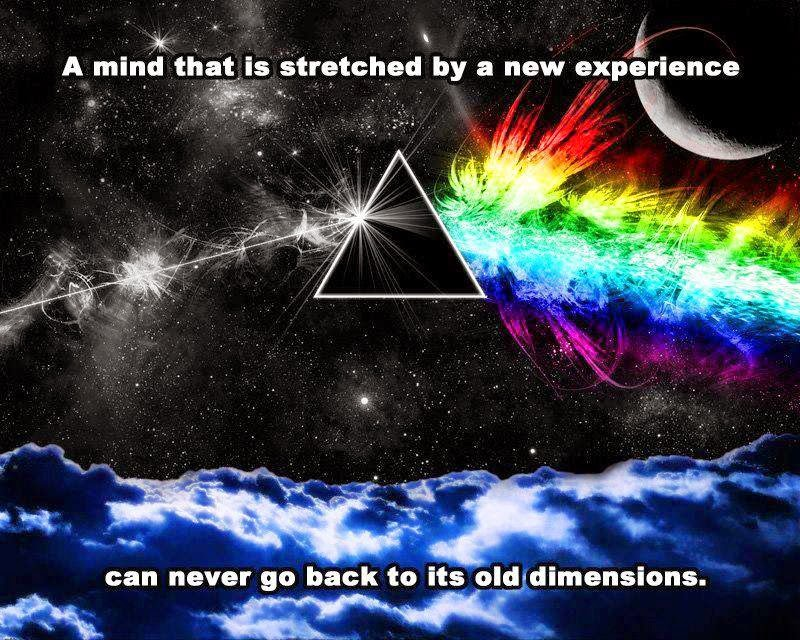 Mind, Stretched, experience, new, back, old, dimensions